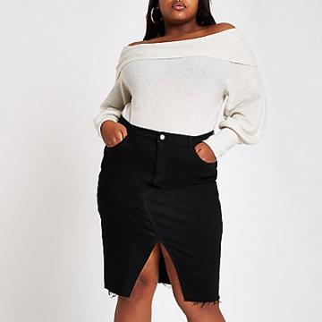 River Island Womens Plus Denim Split Pencil Skirt