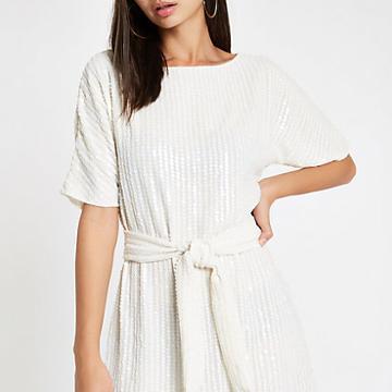 River Island Womens White Sequin Tie Waist Tunic Dress
