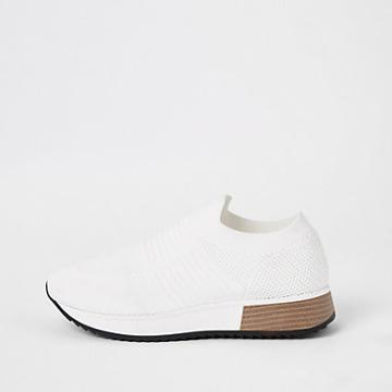 River Island Womens White Knitted Runner Trainers