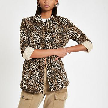 River Island Womens Leopard Print Army Jacket