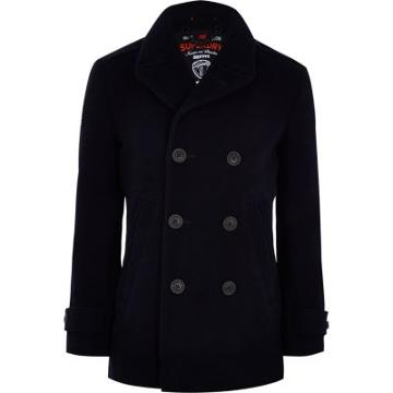 River Island Mens Superdry Double-breasted Peacoat