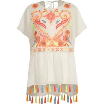 River Island Womens White Embroidered Tassel Hem Beach Cover Up