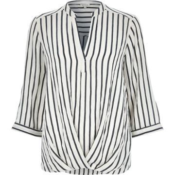 River Island Womens White Stripe Wrap Front V-neck Shirt