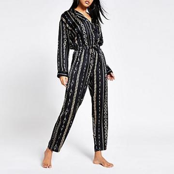 River Island Womens Chain Printed Satin Pyjama Jumpsuit