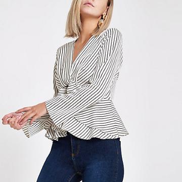 River Island Womens Petite White Stripe Twist Front Blouse