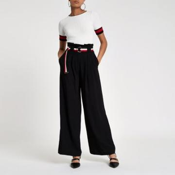 River Island Womens Stripe Belt Wide Leg Pants