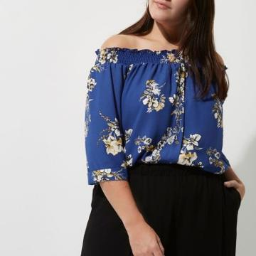 River Island Womens Plus Floral Print Shirred Bardot Shirt