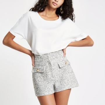 River Island Womens White Short Sleeve Sheer Hem Blouse