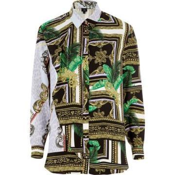 River Island Womens Mixed Scarf Print Long Sleeve Shirt