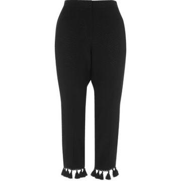 River Island Womens Petite Jacquard Tassel Cropped Trousers