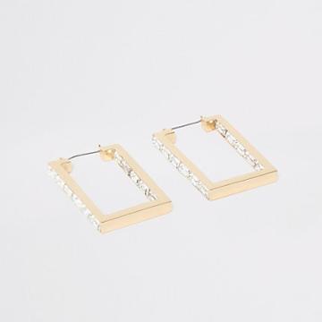 River Island Womens Gold Color Rectangle Hoop Earrings