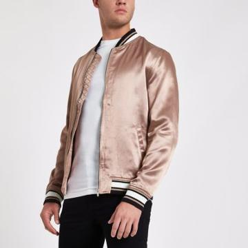 River Island Mens Dusty Satin Look Bomber Jacket