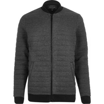 River Island Mensdark Quilted Bomber Jackets