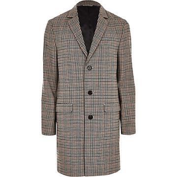 River Island Mens Big And Tall Check Smart Overcoat