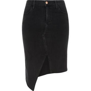 River Island Womens Washed Asymmetric Denim Skirt