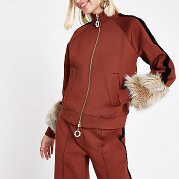 River Island Womens Ri Studio Rust Faux Fur Cuff Tracksuit Jacket