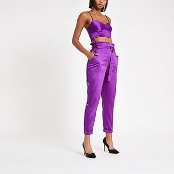 River Island Womens Satin Paper Bag Waist Trousers
