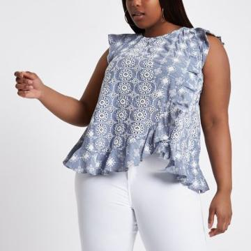 River Island Womens Plus Broderie Frill Shell Top