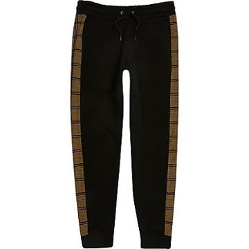 River Island Mens Check Tape Side Slim Fit Joggers