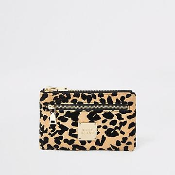 River Island Womens Leopard Print Mini Zip Pouch