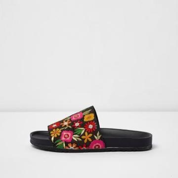 River Island Womens Floral Embroidered Sliders