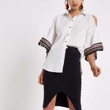 River Island Womens Cold Shoulder Tassel Sleeve Shirt
