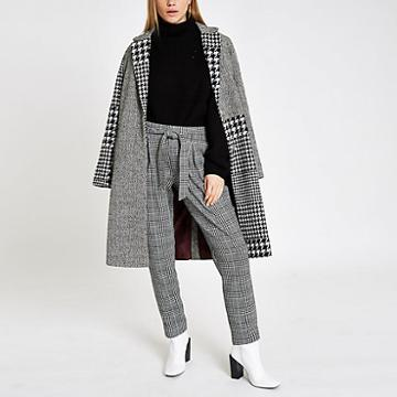 River Island Womens Check Tie Front Tapered Trousers