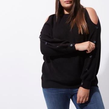 River Island Womens Plus Cold Shoulder Knit Batwing Jumper