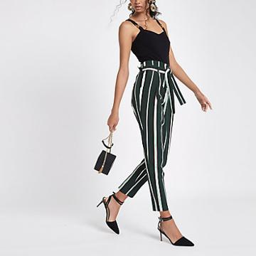 River Island Womens Stripe Tie Waist Tapered Leg Trousers