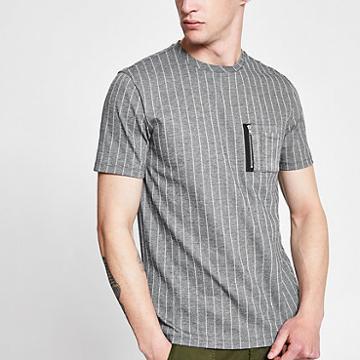 River Island Mens Pinstripe Slim Fit Utility T-shirt