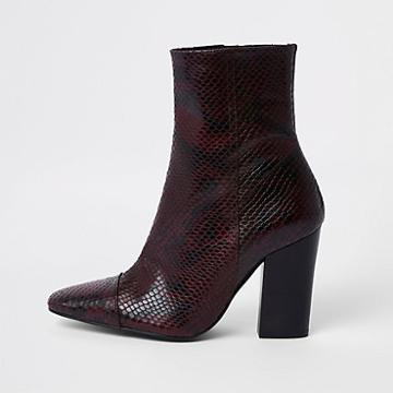 River Island Womens Snake Embossed Block Heel Boots