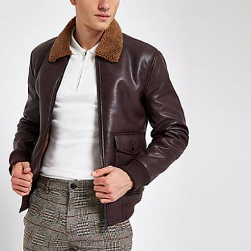 River Island Mens Faux Leather Borg Collar Jacket