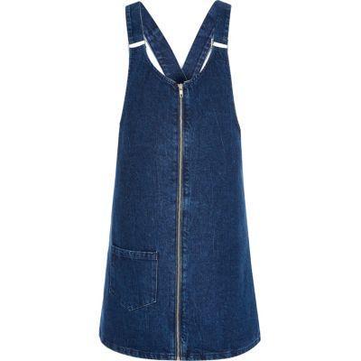 River Island Womens Denim Pinafore Dress