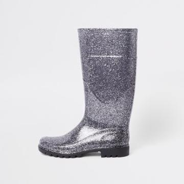 River Island Womens Silver Glitter Wellie Boots