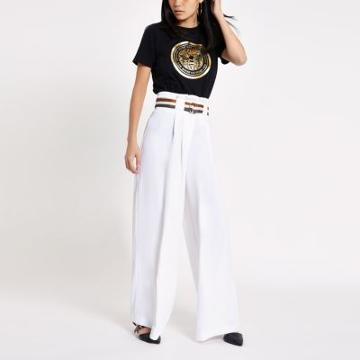 River Island Womens White Stripe Belt Wide Leg Pants