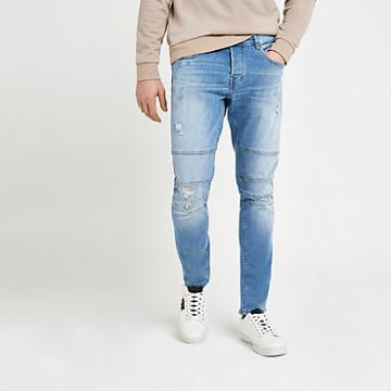 River Island Mens Only And Sons Slim Tapered Biker Jeans