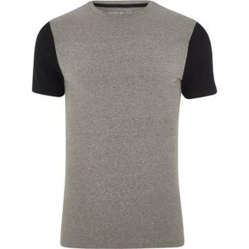 River Island Mens Muscle Fit Colour Block Sleeve T-shirt