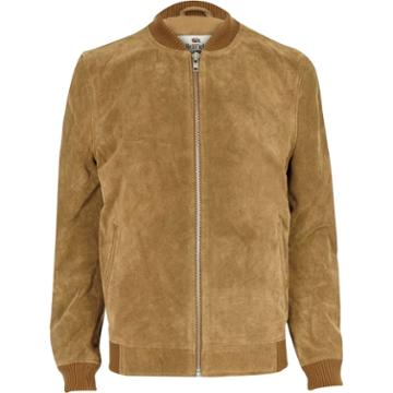 River Island Mensbrown Bellfield Suede Bomber Jackets