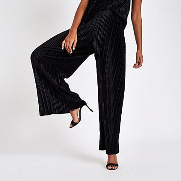 River Island Womens Velvet Pleated Jersey Wide Leg Trousers