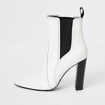 River Island Womens White Leather Pointed Western Heel Boots