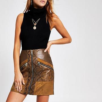 River Island Womens Snake Print Faux Leather Mini Skirt