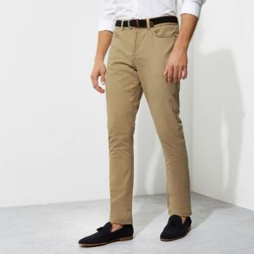 River Island Mens Belted Slim Fit Chino Trousers