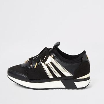 River Island Womens Metallic Lace-up Runner Trainers