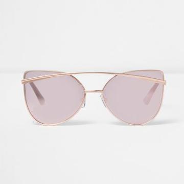River Island Womens Rose Gold Tone Cat Eye Mirror Sunglasses
