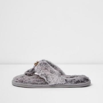River Island Womens Fluffy Bow Flip Flop Slippers