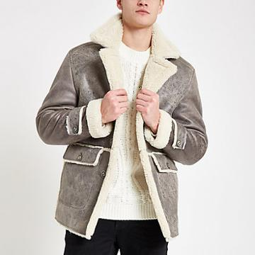 River Island Mens Shearling Lined Button Down Jacket