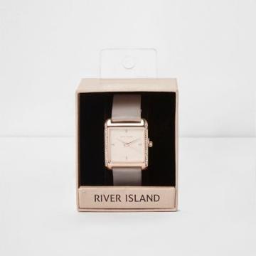 River Island Womens Plus Square Rose Gold Rhinestone Watch