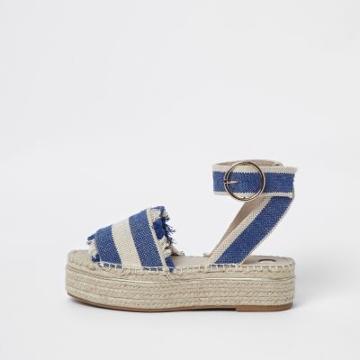 River Island Womens Stripe Espadrille Platform Sandals