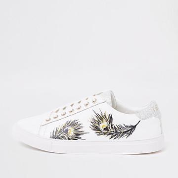 River Island Mens White Feather Print Low Top Cupsole Sneakers