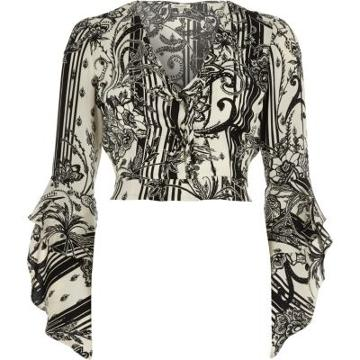 River Island Womens Floral Print Wrap Frill Sleeve Crop Top